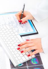 Doctor writing prescription. Selective focus