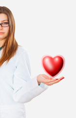 Medicine woman doctor with virtual heart