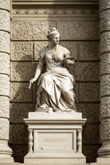 Stone sculpture of a woman in the the center of Vienna, Austria