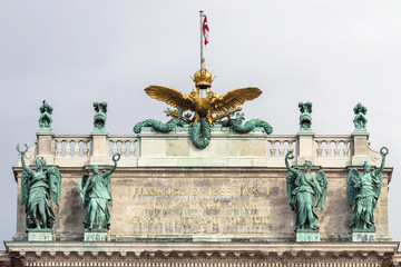 The roof of the Hofburg Palace in Vienna, Austria, close-up