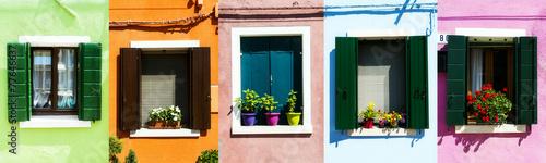collage of Italian rustic windows - 77646637