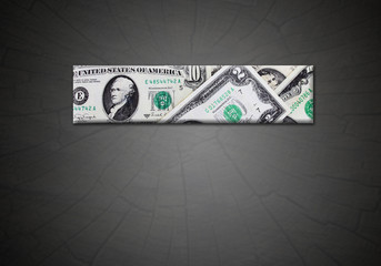 strip from dollars on the gradient dark background