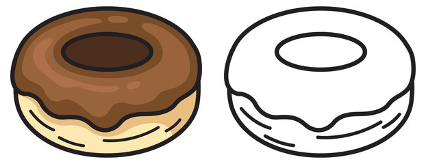 colorful and black and white donut for coloring book