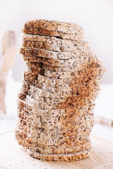 Pile of freshly baked sandwich bread