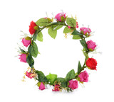wreath of fabric flowers isolated on white - 77649285