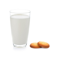 glass of milk and cookie isolated on white
