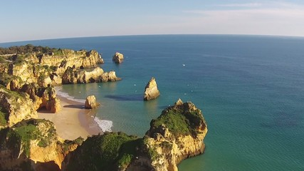 Aerial from Praia Tres Irmaos at Alvor in Portugal