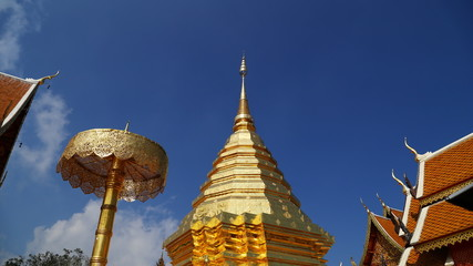 4k timelapse of Wat Phrathat Doi Suthep temple with blue sky in
