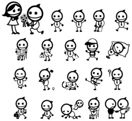 Mr. Smile expression and activity icon collection set, create by