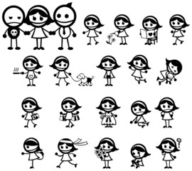 Miss Girly expression and activity icon collection set, create b