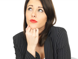 Thoughtful Conerned Young Business Woman