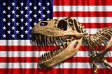 Tyrannosaurus Rex skeleton in USA flag background