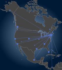 New York centered North America map