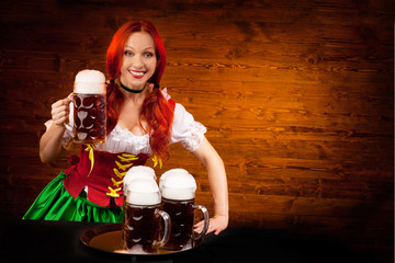 Bavarian Woman with Six Beer Glasses