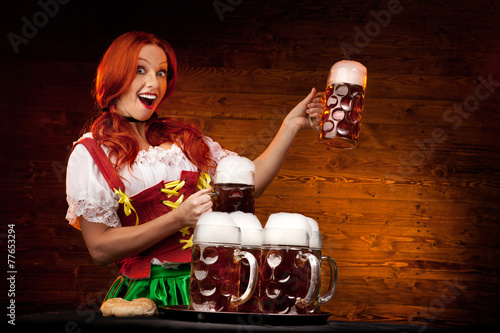 canvas print picture Bavarian Woman with Six Beer Glasses