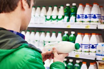 Man shopping milk