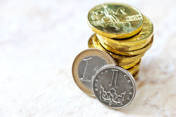 Euro and Czech crown money - exchange rate