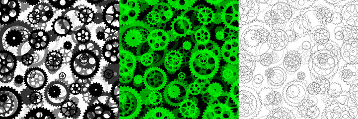 set of three backgrounds with gears