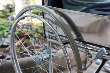 detail of empty wheelchair
