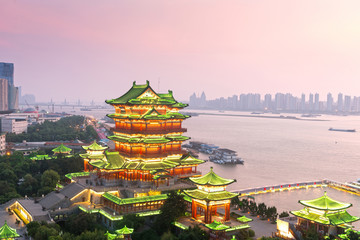 nanchang tengwang pavilion at night ,is one of chinese famous an