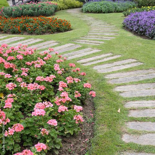 Papiers peints Pistache landscape of floral gardening with pathway in garden