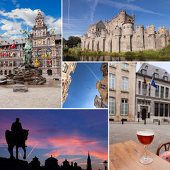 Belgium cities with beer, statues, vintage architecture