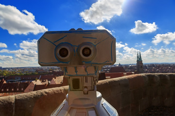 Telescope in the Nuremberg castle, view of the city