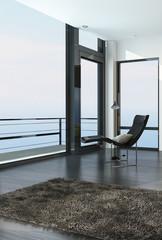 Chair overlooking the ocean