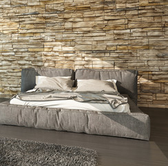 Modern bed with padded upholstered headboard