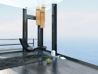 Luxury seafront property interior with ocean view