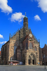 Church of Our Lady (Frauenkirche), blue sky with clouds in Nurem