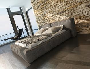 Modern stylish upholstered king size bed