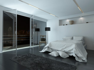Elegant white modern bedroom interior