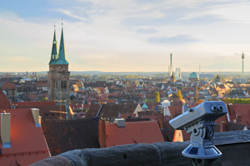 Telescope in the Nuremberg castle, view of the city,