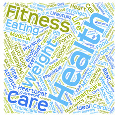 Conceptual health or diet word cloud