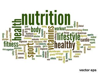 Vector conceptual nutrition health word cloud