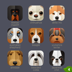 Animal faces for app icons-dogs set 3
