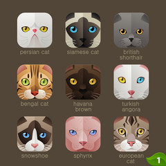 Animal faces for app icons-cats set