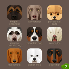 Animal faces for app icons-dogs set 6