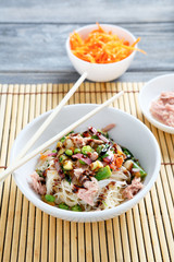 Chinese noodles with tuna