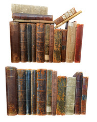 Set with old damaged books