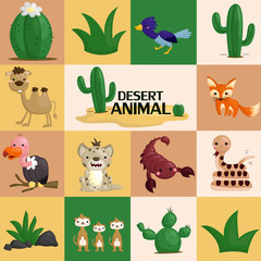 square desert animal vector