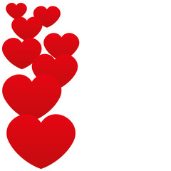 Vector background. Red hearts.