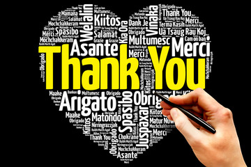 Thank You in many languages, love heart word cloud concept