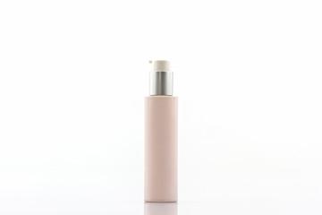 Pink cosmetics bottle, packaging.