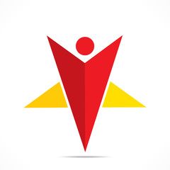creative star shape men icon design concept vector
