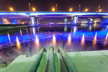 Sewage pipes discharging water into Dubai Creek