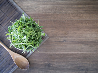 An overhead view of arugula