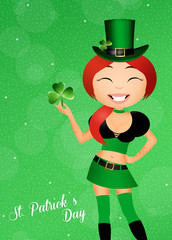 girl with shamrock for st. Patrick's day