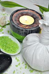 candles with colored stones